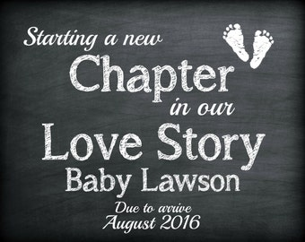 Chalkboard Pregnancy Were Expecting Announcement Digital Sign Printable A New Chapter In Our Love Story Social Media