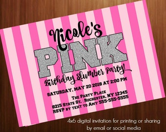 victoria secret pink invitations etsy