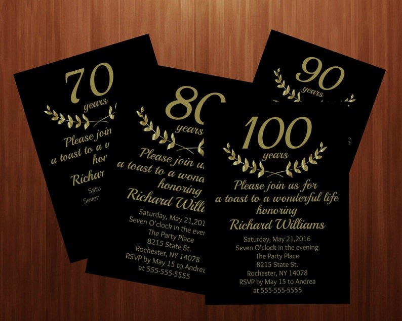 100th black and gold birthday invitation elegant formal image 0
