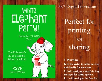 Printable, White Elephant Party invitation,  5x7 personalized, custom, Christmas party, downloadable, gift exhange