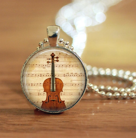 Music Gift Violin Musical Instrument Glass Dome Pendant Chain Necklace