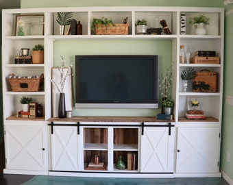 farmhouse sliding barn door media console with side towers wall unit built in - Sliding Barn Door Entertainment Center