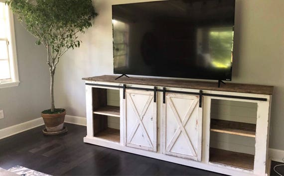 Sliding Barn Door Distressed Farmhouse Media Console Tv Etsy