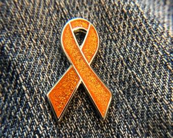 1eb7c3294 Orange glitter awareness ribbon pins - Leukemia, ADHD, Lupus, Melanoma,  Malnutrition, Multiple Sclerosis, Spinal Cancer