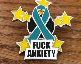 FUCK ANXIETY spinner pin - anxiety, enamel pin, hat pin, hard enamel, fidget toy, fuck anxiety, anxiety gift, anxiety awareness, anxiety aid