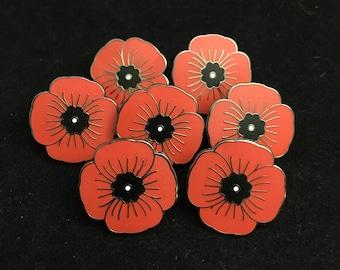 Poppy lapel pin etsy will ship by nov 15th qty 5 1 hard enamel memorial poppy lapel pin hat pin wwi wwii world war military pins honor pin mightylinksfo