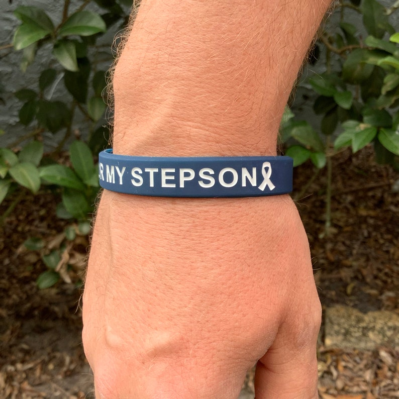 Navy I Wear This For My Stepson Wristband Colon Cancer Etsy