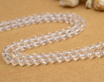 """Natural Faceted Rock Crystal Quartz Beads Round Clare Crystal Cut Bead 13.8"""" Full Strand 6mm 8mm 10mm 12mm 14mm Optional  B001"""