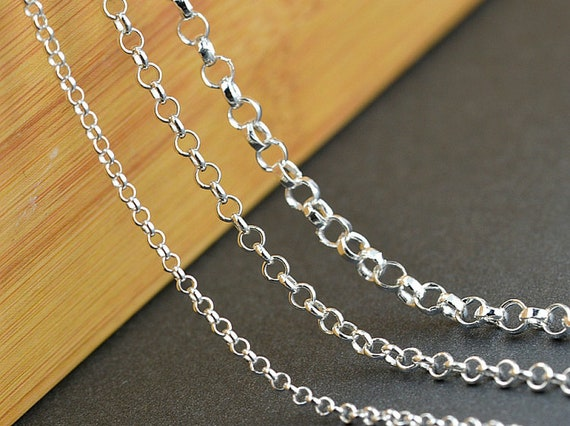 3 feet BULK Sterling Silver 8mm Hollow Round ROLO Chain