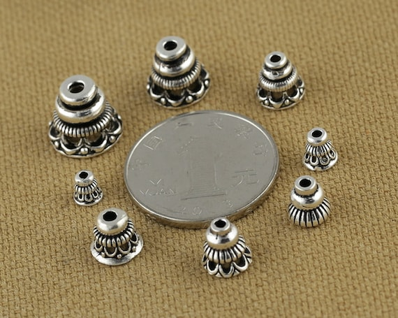 Antique Silver Bell Bead Caps Pack of 10