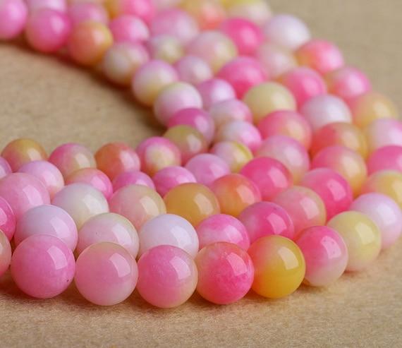sch ne rosa jade beads persische pfirsich jade stein perlen etsy. Black Bedroom Furniture Sets. Home Design Ideas