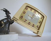 Vintage alarm clock JAZ France 1957, beige vintage JAZ in very good vintage condition, alarm clock JAZ Art Deco alarm clock
