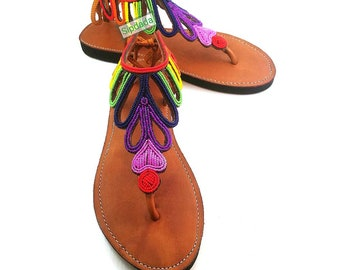 2c5066f5aba3 Rainbow inspired Womens leather sandals   women shoes   leather shoes   flat  shoes   greek inspired   Gift for her   Gift ideas