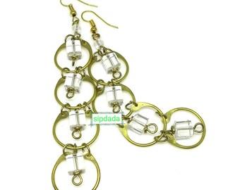 African jewelry, African earrings, earrings, long earrings, brass earrings, statement earrings (003)