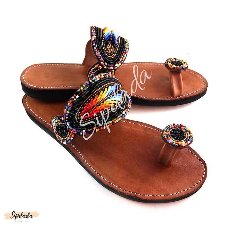 407483fde082 Maasai Leather sandals African sandals flat sandals beaded