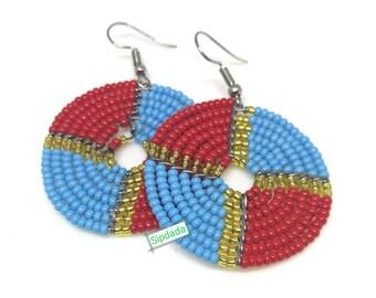 African jewelry, African earrings, Maasai earrings, earrings, Bead earrings, statement earrings, gift for her, Jewelry, Jewellery (006)
