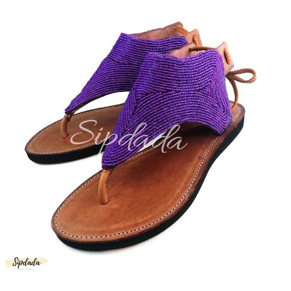 SandalsLeather ShoesGift Handmade HerFlats Maasai Mzambarau SandaliaSummer Masai For RcA4jq35LS