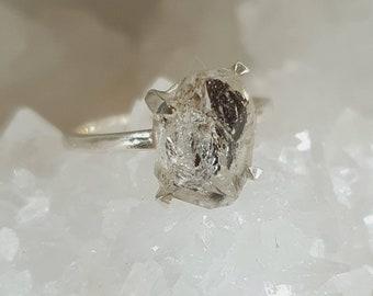 raw Herkimer Diamond Quartz Ring 925 silver,rough herkimer Rings ,diamond quartz rings, Crystal rings, gemstone rings, silver rings,handmade