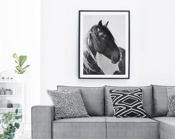 Printable Wall Art, Horse Print Photography Black and White Wall Art, Digital Download, Black and White Horse Photo, Large Wall Art Print