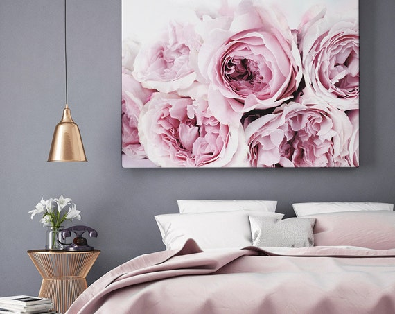 Bedroom Wall Decor, Peony Art Print, Pink and Grey Floral Digital Download, Printable Peonie Roses Poster, Flower Photography, Modern Prints