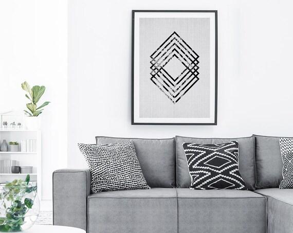 Scandinavian Decor, Printable Wall Art, Digital Download, Black and White Geometric Abstract Print, Geometric Scani Scandinavian Home Decor