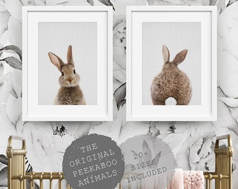 Nursery Wall Art Decor, Bunny Rabbit, Nursery Animal Prints, Printable Digital Download, Set of 2, Instant Downloadable, Woodland Poster Art