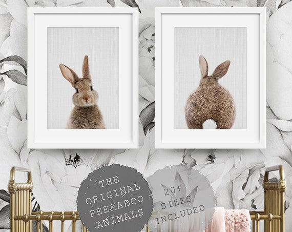 Nursery Wall Art Decor, Bunny Rabbit, Nursery Animal Prints, Printable Digital Download, Set of 2, Instant Downloadable, Woodland Poster Art