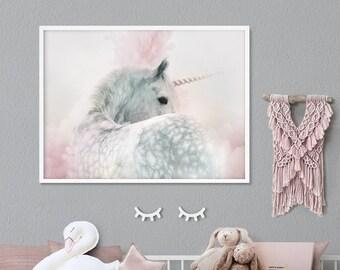 Unicorn wall art print - Girls nursery room printable decor - Instant digital download - Modern pink and grey horse poster for kids bedroom