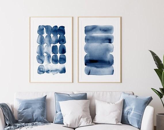 Abstract Print Print set of 2 ~ Printable Wall Art ~ Navy Indigo Blue Decor ~ Watercolour Brush Stroke Painting
