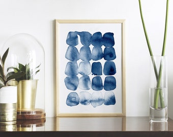 Abstract Print, Blue Watercolor, Printable Wall Art, Digital Download, Modern Farmhouse, Navy Blue Poster