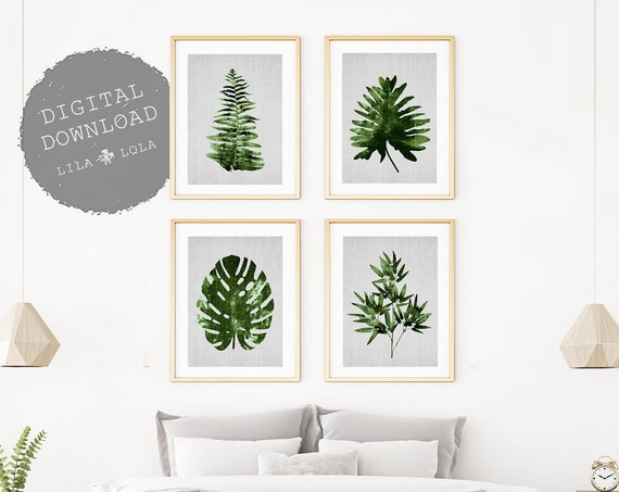 Botanical Print Set, Leaf Wall Art, Set of 4, Printable Digital Download, Tropical Leaf Print Set, Monstera, Bamboo, Fern , Palm, Modern