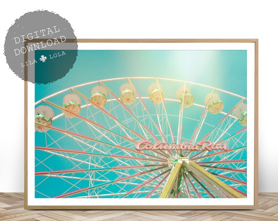 Ferris Wheel Print, Girls Room Wall Art Decor, Digital Download, Printable Wall Art, Girl Baby Bedroom Poster, Vintage Pastel Kids Bedroom