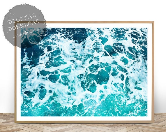 Ocean Art Print, Digital Download, Coastal Beach Decor, Large Printable Wall Art, Beach Art Poster, Ocean Water, Minimalist Ocean Art Print