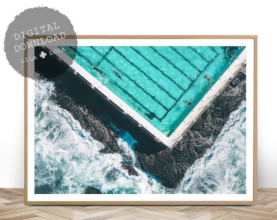 Ocean Pool Print, Digital Download, Seaside, Ocean Water, Bondi Beach Australia, Printable Ocean Poster, Landscape Wall Art Photography