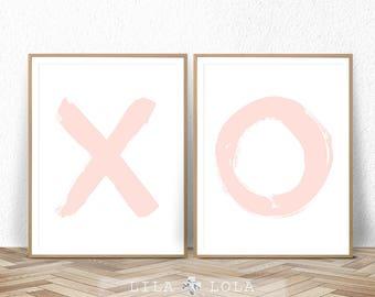 Nursery Wall Art, Girl X O Print Set, Digital Download, Blush Pink Decor, Printable Poster, Girls Nursery Prints, Digital Nursery Printable