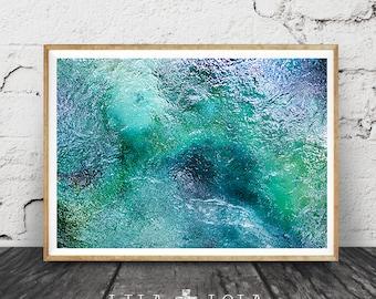 Tropical Abstract Water Photography, Printable Wall Art Print, Mataranka  Spring, Australia, Modern, Blue Green Teal Turquoise Home Decor