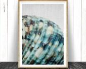 Sea Shell Print, Minimalist Coastal Wall Art Decor, Blue Beach Decor, BlueTeal Aqua Turquoise Printable Art, Instant Download Seashell Print