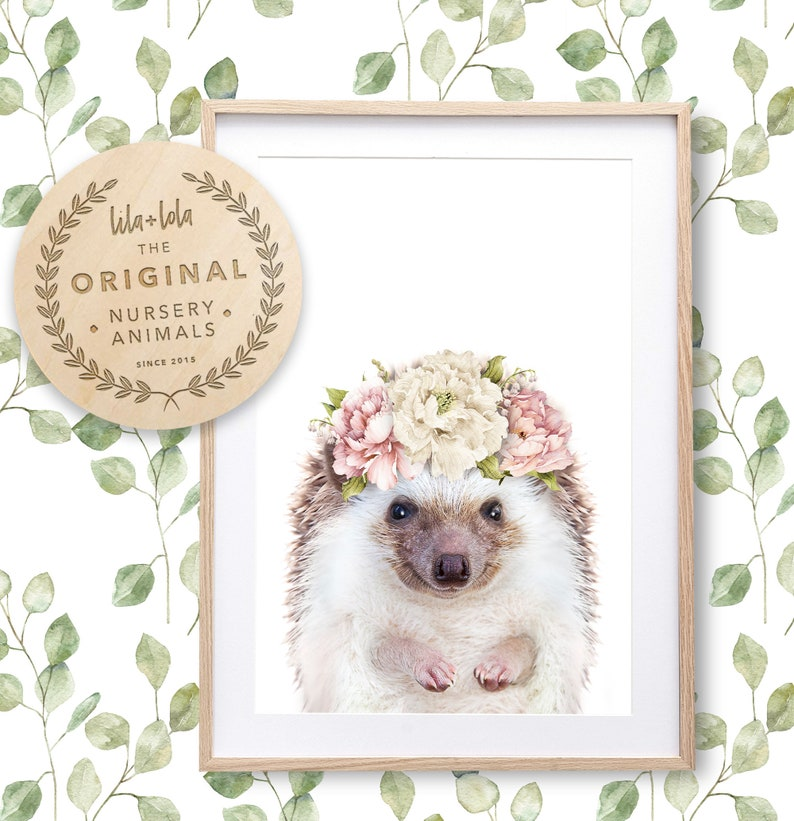Girl Nursery Decor Animal With Flowers Hedgehog Wall Art image 0