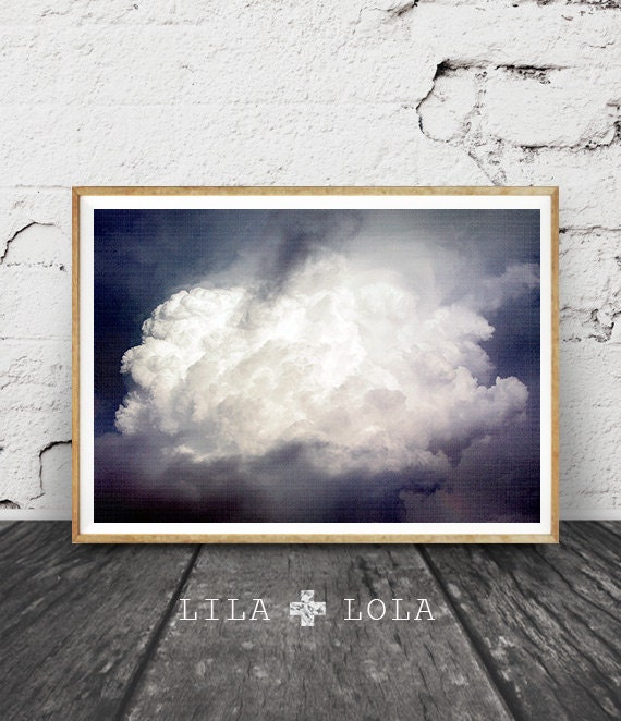 Clouds Photo Print, Modern Contemporary Photography, Printable Poster Instant Download, Moody Storm Clouds Large Wall Art, Nature, Navy Blue