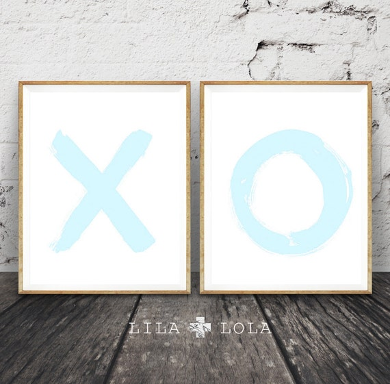 O X Pastel Blue Nursery Wall Art Print Set, Brush Stroke, Printable Digital Download, Baby Boys Room Poster, Modern Minimalist Decor