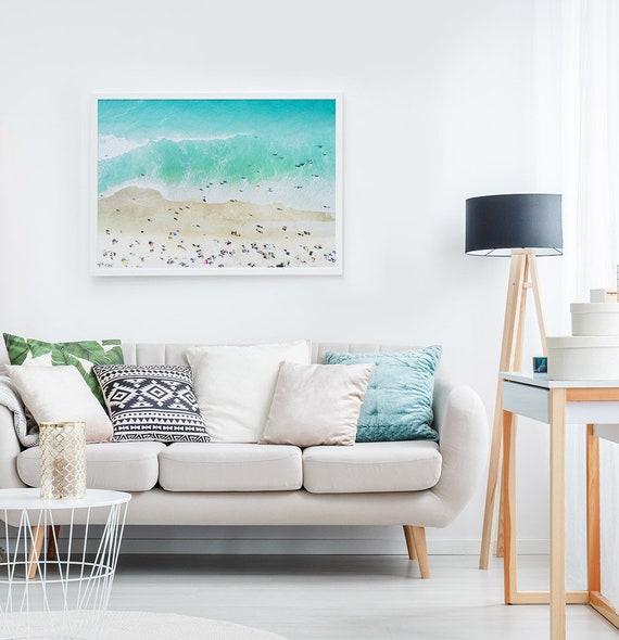 Beach Photography Wall Art Print, Digital Download, Ariel Photo, Large Printable Ocean, Beach Wall Art, Coastal Decor, People on the Beach
