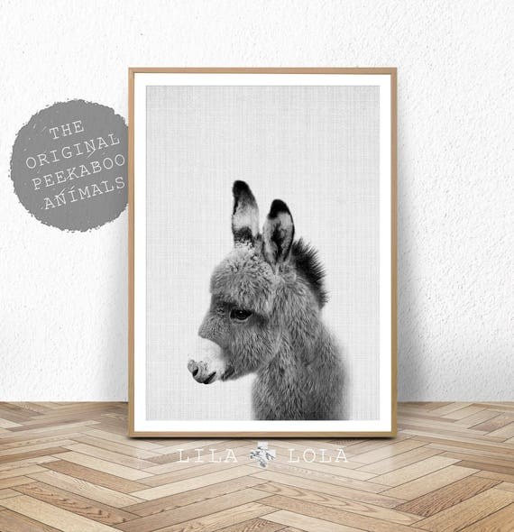 Donkey Print, Nursery Animal Wall Art, Baby Shower Gift, Kids Room Poster, Printable Digital Download, Cute Baby Nursery Donkey Wall Art