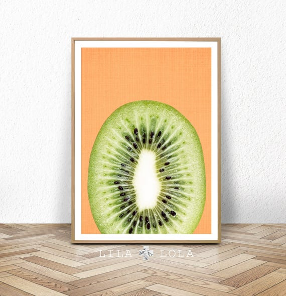 Kiwi Fruit Slice Print, Kitchen Wall Art Decor, Printable Digital Download, Large Poster, Orange and Green, Tropical Kiwi Fruit Slice Decor