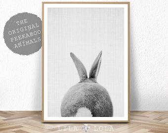 Nursery Print, Bunny Rabbit Tail Wall Art, Printable Instant Digital Download, Woodland Baby Shower Decor Decoration, Black and White Poster