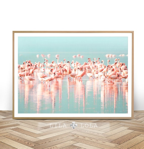 Flamingo Print, Instant Digital Download, Large Printable Wall Art Poster, Birds Photography, Pastel Pink, Blue, Aqua, Tropical Water