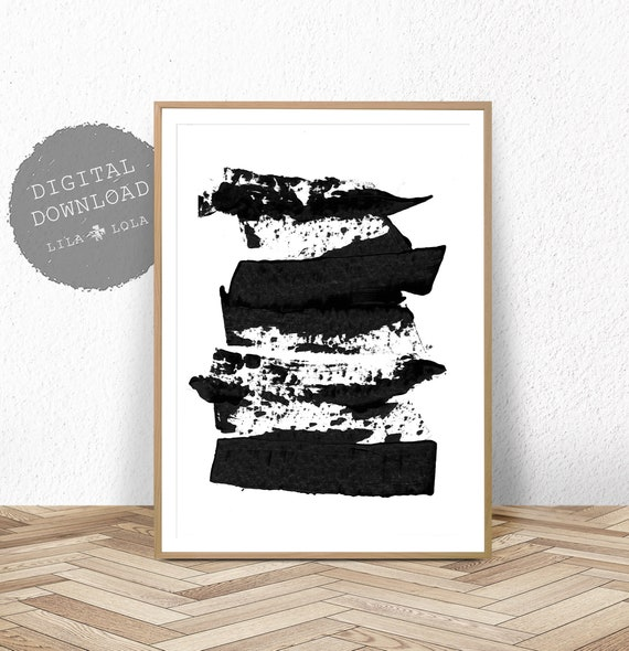 Abstract Painting, Black and White Wall Art Print, Printable, Minimalist, Digital Download, Brush Strokes, Black and White Large Poster