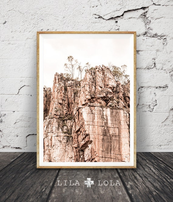 Rocky Cliff Wall Art Print, Outback Australian Desert Photography, Katherine Gorge Photo, Large Printable Digital, Pastel Blush Pink Decor