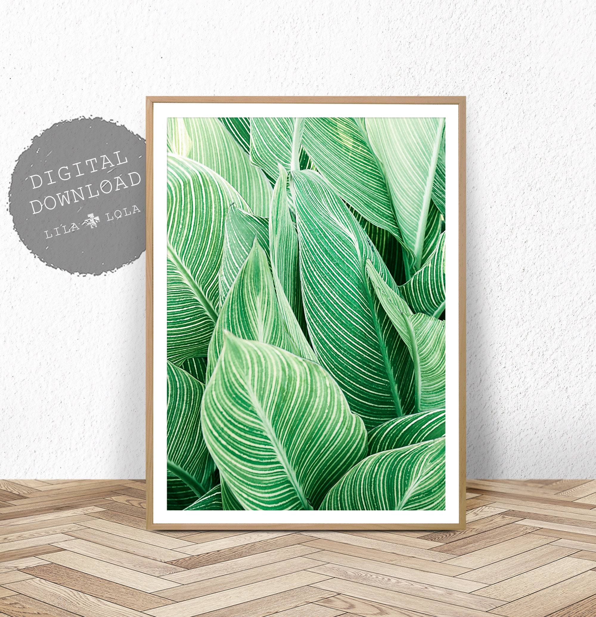 Tropical plant wall art leaf print printable digital download large poster tropical wall decor plant leaf printable leaf wall decor