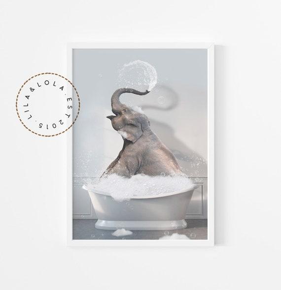 Elephant in Bathtub Print ~ Funny Bathroom Wall Art Decor for Kids ~ Printable Digital Download ~ Animal Poster