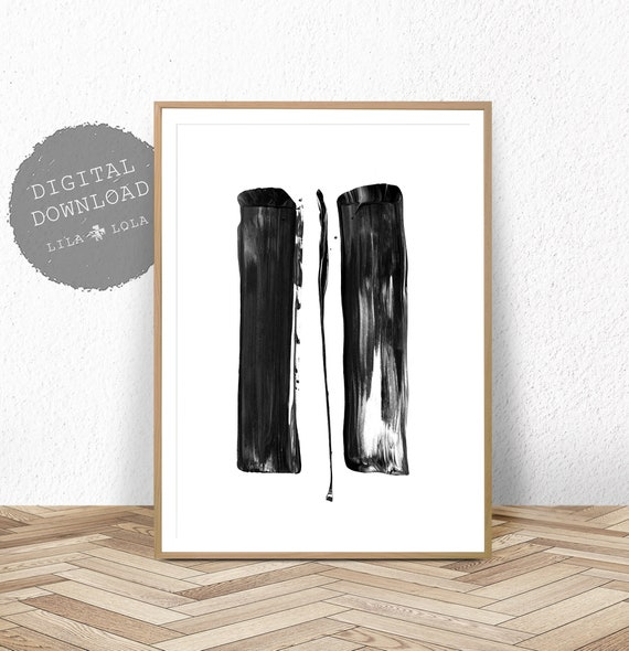 Black and White Abstract Wall Art Print, Printable, Minimalist Painting, Digital Download, Brush Strokes, Black and White Large Poster